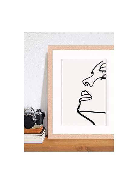 Ingelijste digitale print Half Me, Afbeelding: digitale print op papier,, Lijst: gelakt hout, Lichtgrijs, zwart, 33 x 43 cm