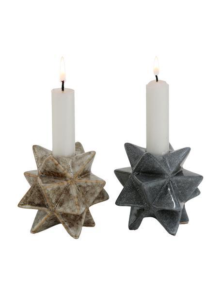 Set de candelabros Zevio, 2pzas., Porcelana, Verde, marrón, Ø 9 x Al 8 cm