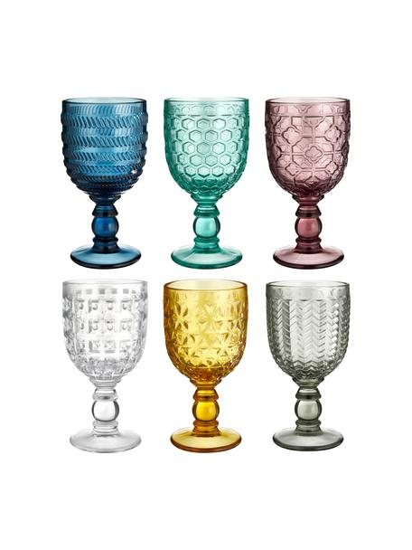 Wijnglazenset Geometrie met structuurpatroon, 6-delig, Glas, Multicolour, Ø 9 x H 17 cm