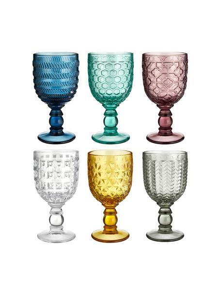 Wijnglazenset Geometrie met structuurpatroon in kleur, 6-delig, Glas, Multicolour, Ø 9 x H 17 cm