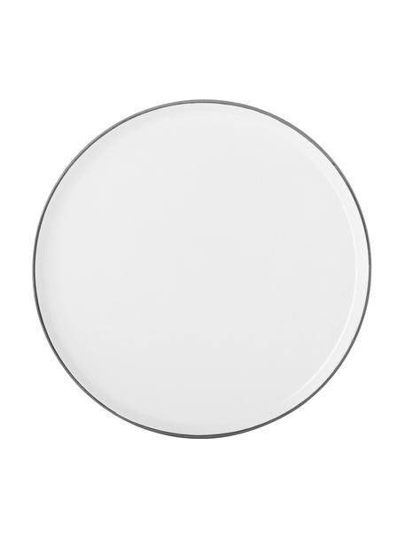 Piatto piano opaco/lucido fatto a mano Esrum 4 pz, Sotto: gres naturale, Color avorio, grigio-marrone, Ø 28 cm