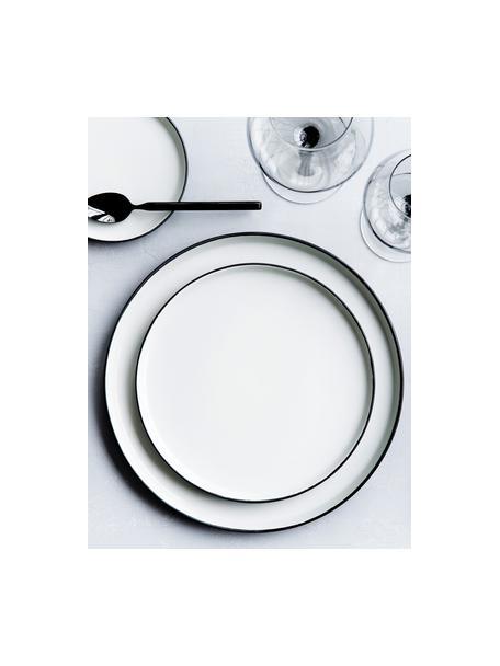 Handgemaakte dinerborden Esrum mat/glanzend, 4 stuks, Bovenzijde: glad geglazuurde keramiek, Onderzijde: natuurlijke keramiek, Ivoorkleurig, grijsbruin, Ø 28 cm