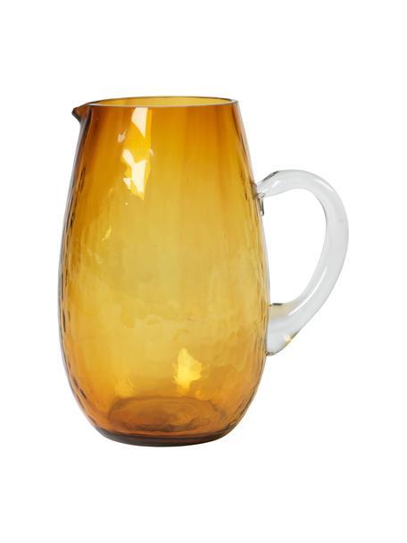 Grosser mundgeblasener Krug Hammered mit gehämmerter Oberfläche, 2 L, Glas, Bernsteinfarben, Ø 14 x H 22 cm
