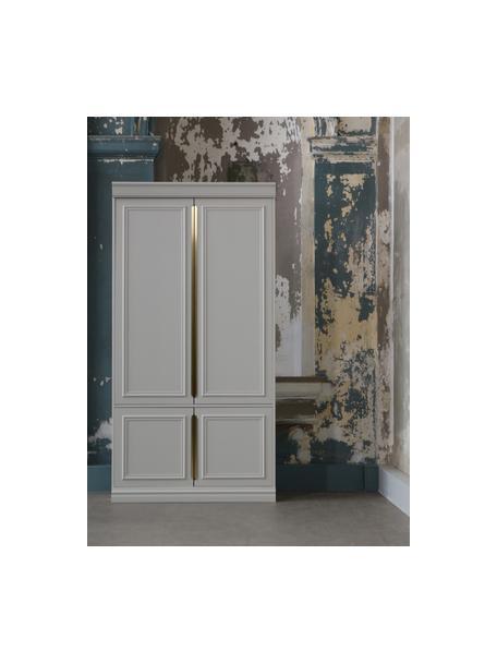 Kledingkast Organize met vier planken, Frame: grenenhout, gelakt, Handvatten: gecoat metaal, Grijs, wit, 110 x 215 cm