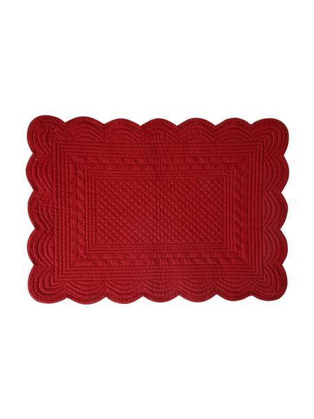 Baumwoll-Tischsets Boutis mit Hoch-Tief-Struktur, 2 Stück, Baumwolle, Rot, 49 x 34 cm