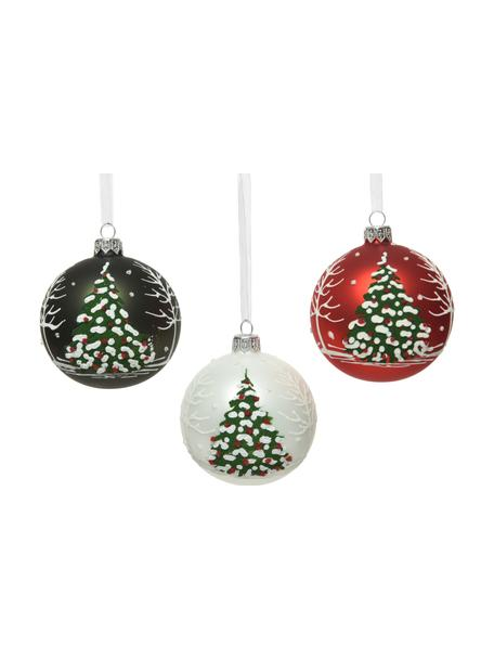 Weihnachtskugeln Lahio Ø 8 cm, 3 Stück, Grün, Weiß, Rot, Ø 8 cm