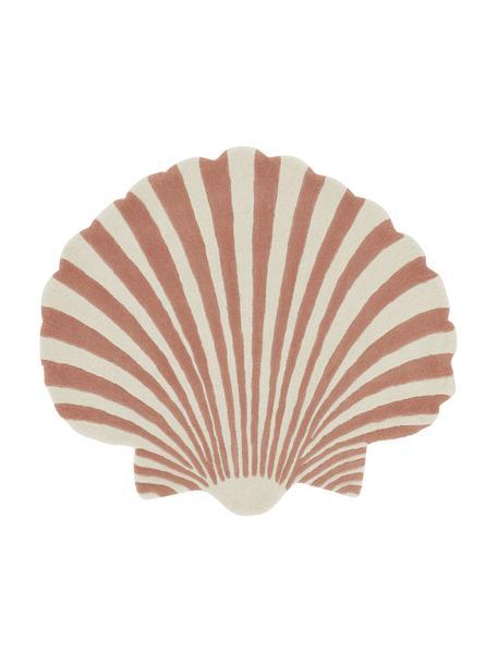 Handgetufteter Wollteppich Shellie in Muschel-Form, 100% Wolle, Ziegelrosa, Weiß, B 105 x L 120 cm (Größe S)