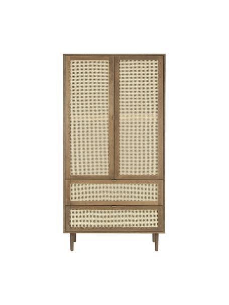 Armario Aries, Estructura: aglomerado con chapa de m, Patas: madera de roble maciza, Marrón, An 100 x Al 194 cm