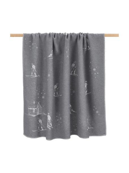 Baumwolldecke Sylt mit winterlichen Motiven, 85% Baumwolle, 8% Viskose, 7% Polyacryl, Grau, Dunkelgrau, 140 x 200 cm