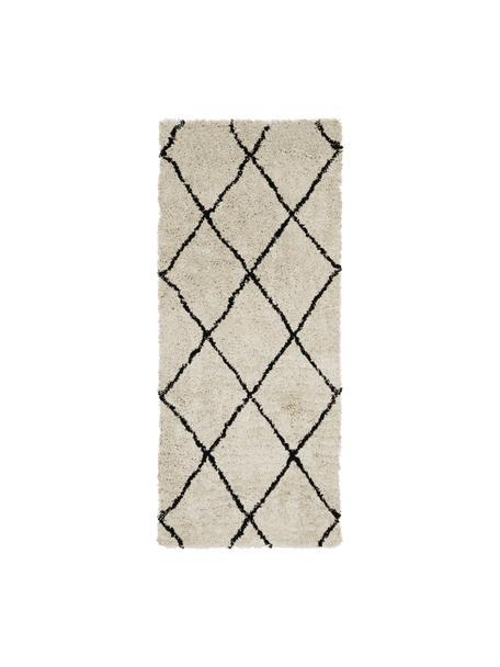 Pluizige hoogpolige loper Naima, handgetuft, Bovenzijde: 100% polyester, Onderzijde: 100% katoen, Beige, zwart, 80 x 200 cm