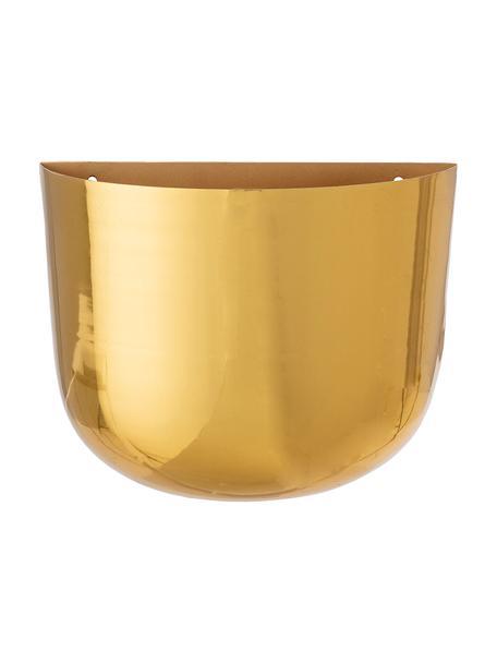 Duża ścienna osłonka na doniczkę z metalu Zenzi, Metal powlekany, Odcienie mosiądzu, S 24 x W 19 cm