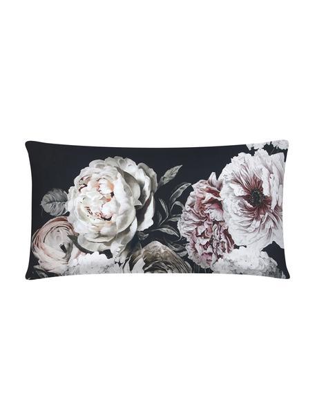 Funda de almohada de satén Blossom, 45x85cm, Negro, An 45 x L 85 cm