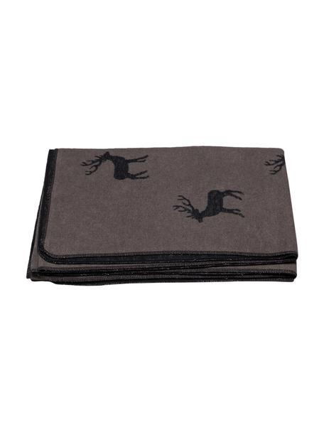 Manta de franela Deer, 85%algodón, 15%poliacrílico, Marrón, An 140 x L 200 cm