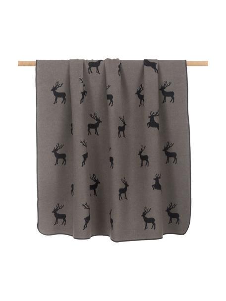 Plaid in flanella marrone/grigio con motivo cervo Silvretta, 85% cotone, 15% poliacrilico, Marrone, Larg. 140 x Lung. 200 cm