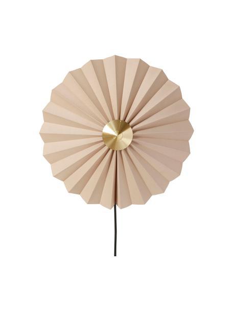 Wandlamp Tenty van papier met stekker , Lampenkap: papier, Decoratie: messing, Beige, messingkleurig, Ø 48 cm