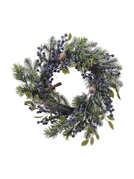Weihnachtskranz Patrick Ø 40 cm, Kunststoff, Grün, Blau, Braun, Ø 40 x H 15 cm