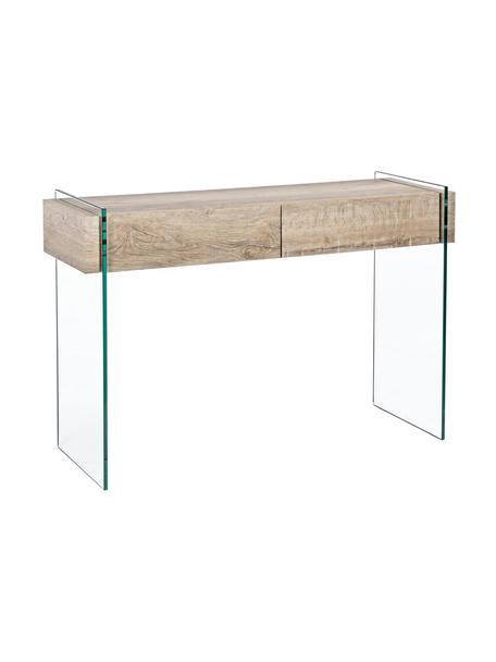 Consolle con 2 cassetti e pareti in vetro Kenya, Struttura: vetro temperato (12 mm), Trasparente, marrone chiaro, Larg. 110 x Alt. 75 cm