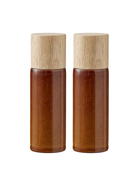 Komplet młynka do soli i pieprzu z kamionki Bizz, 2 elem., Odcienie bursztynowego, brązowy, Ø 5 x W 17 cm