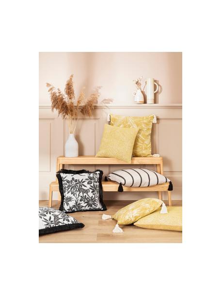 Kissenhülle Monkey mit tropischem Aufdruck und Fransenabschluss, 90%Baumwolle, 10%Polyester, Schwarz, gebrochenes Weiss, 40 x 40 cm