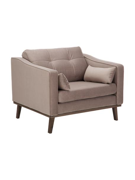 Klassieke fluwelen fauteuil Alva in taupe met beukenhouten poten, Bekleding: fluweel (hoogwaardig poly, Frame: massief grenenhout, Poten: massief gebeitst beukenho, Fluweel taupe, B 102 x D 92 cm