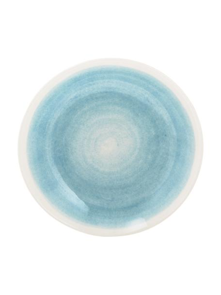 Handgemachte Suppenteller Pure matt/glänzend mit Farbverlauf, 6 Stück, Keramik, Blau, Weiß, Ø 23 cm