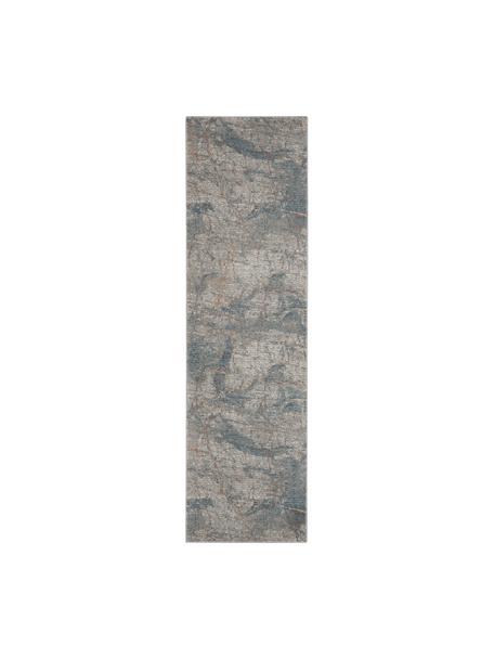 Loper met patroon Rustic in grijs/blauw/beige, Bovenzijde: 51% polypropyleen, 49% po, Onderzijde: latex, Grijs, blauw, beige, 65 x 230 cm