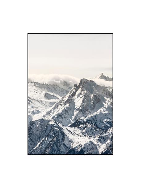 Oprawiony druk cyfrowy White Mountain, Czarny, biały, szary, S 70 x W 100 cm
