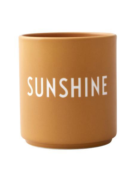 Taza con frase de diseño Favourite SUNSHINE, Porcelana fina de hueso (porcelana) Fine Bone China es una pasta de porcelana fosfática que se caracteriza por su brillo radiante y translúcido., Mostaza, blanco, Ø 8 x Al 9 cm