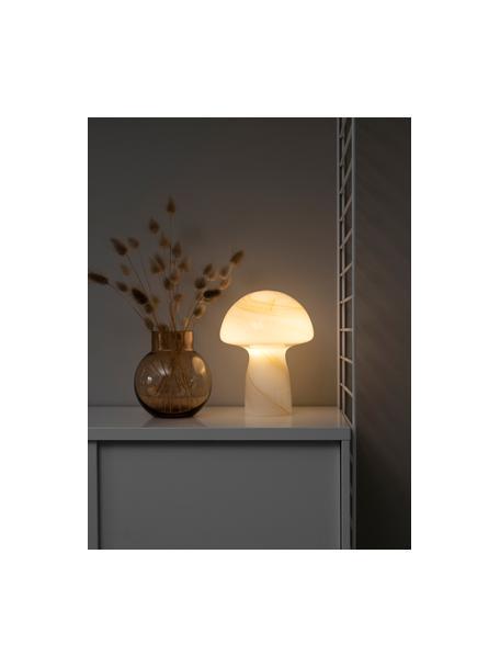 Lámpara de mesa artesanal pequeña Fungo, Lámpara: vidrio, Cable: plástico, Blanco, beige, Ø 16 x Al 20 cm