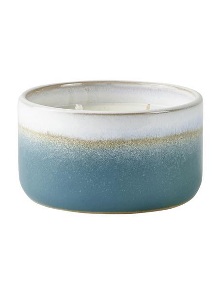Geurkaars Aqua (katoen bloesem), Houder: keramiek, Blauw, beige, wit, Ø 12 x H 7 cm