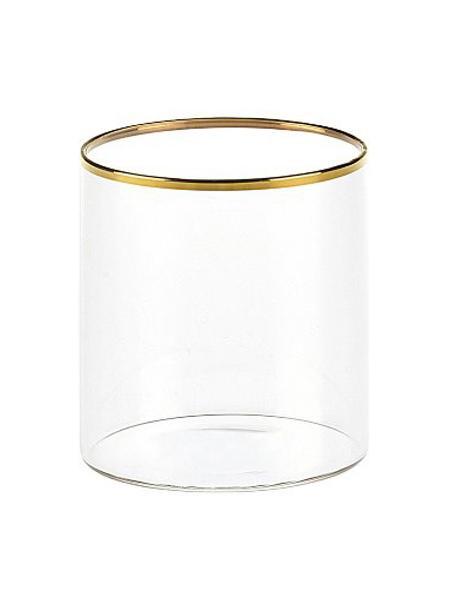 Vasos de vidrio borosilicato Boro, 6uds., Vidrio de borosilicato, Transparente, dorado, Ø 8 x Al 9 cm