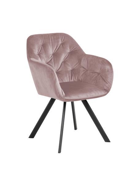 Draaibare Fluwelen armstoel Lucie in roze, Bekleding: polyester fluweel, Poten: gepoedercoat metaal, Oudroze, zwart, B 58 x D 62 cm