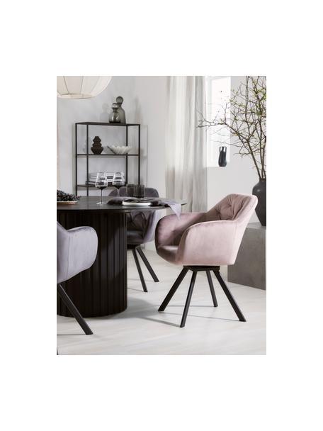 Fluwelen armstoel Lola, Bekleding: polyester fluweel, Poten: gepoedercoat metaal, Oudroze, zwart, B 58 x D 62 cm