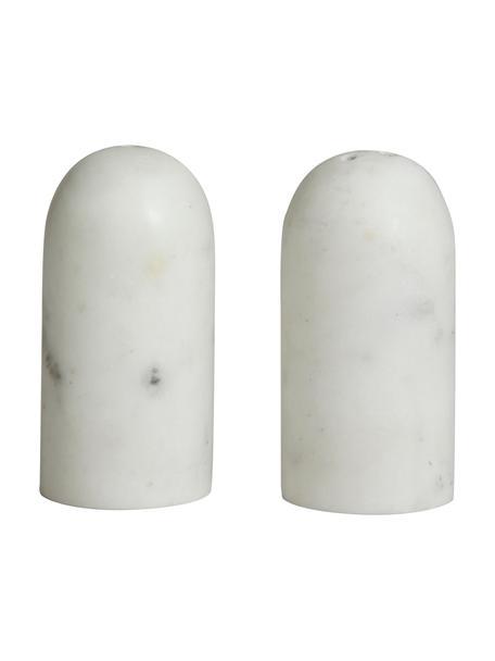 Gemarmerde zout- en peperstrooierset Isop, 2-delig, Marmer, Wit, Ø 4 x H 8 cm