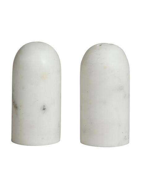 Salero y pimentero de mármol Isop, 2uds., Mármol, Blanco, Ø 4 x Al 8 cm