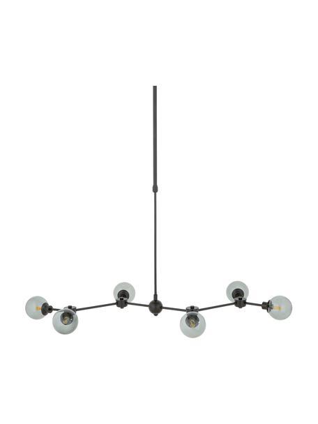 Grote hanglamp Aurelia in zwart, Baldakijn: gepoedercoat metaal, Zwart, grijs, 110 x 68 cm