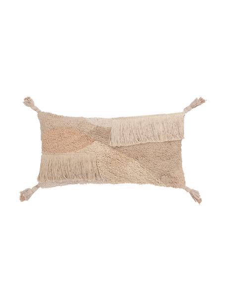 Federa arredo con superficie strutturata e nappe Malva, 100% cotone, Tonalità beige, Larg. 30 x Lung. 60 cm