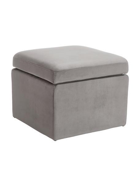 Fluwelen poef Winou met opbergruimte in grijs, Bekleding: fluweel (100% polyester), Frame: metaal, Grijs, 55 x 46 cm