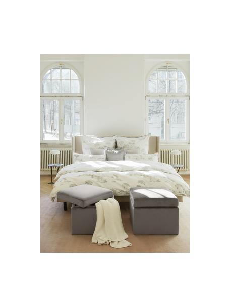 Puf de terciopelo Winou, con espacio de almacenamiento, Tapizado: terciopelo (100%poliéste, Estructura: metal, Terciopelo gris, An 55 x Al 46 cm