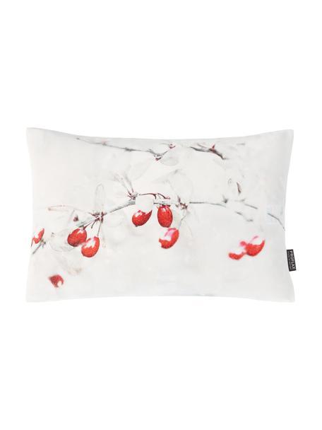 Kissenhülle Blanca in Weiß mit Blumenmotiv, 100% Baumwolle, Weiß, Rot, Grau, 27 x 43 cm