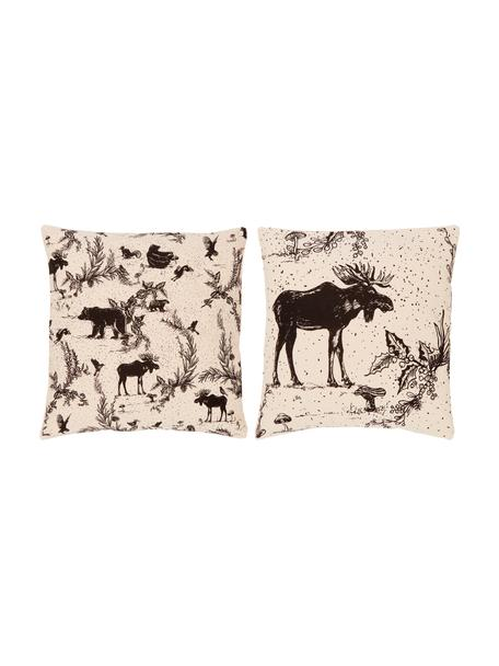 Kissenhüllen Animal Toile, 2er-Set, 100% Bio-Baumwolle, GOTS zertifiziert, Beige, 45 x 45 cm