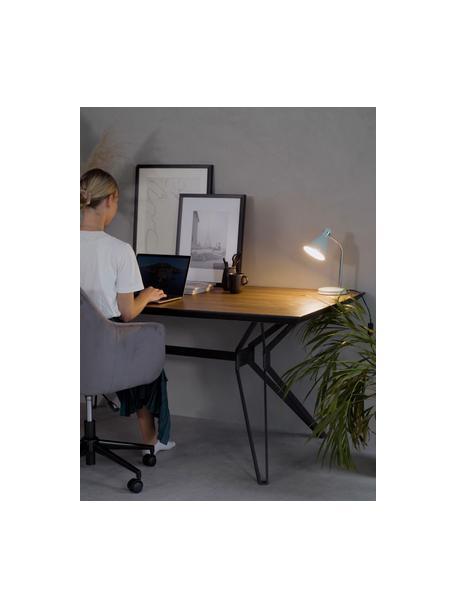 Kleine bureaulamp Study in blauw, Lampenkap: gelakt metaal, Lampvoet: gelakt metaal, Lamp: mistgrijs. Lampenkap binnenzijde: wit. Snoerbekleding: zwart, 12 x 34 cm