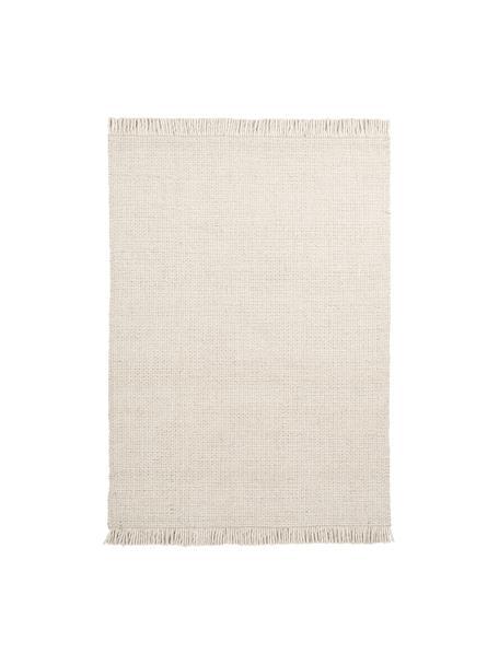 Alfombra artesanal de lana con flecos Alvin, Parte superior: 60%lana, 40%viscosa, Reverso: 100%algodón Las alfombra, Crema, An 80 x L 150 cm (Tamaño XS)