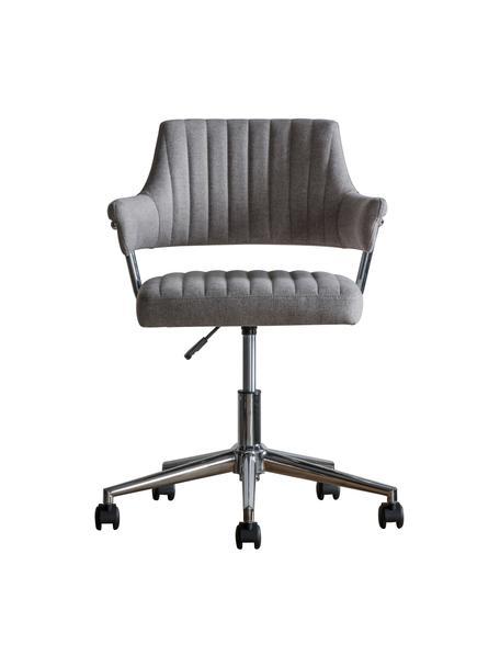 Bureaustoel McIntyre, in hoogte verstelbaar, Bekleding: polyester, Poten: gegalvaniseerd metaal, Wieltjes: kunststof (nylon), Grijs, 58 x 54 cm