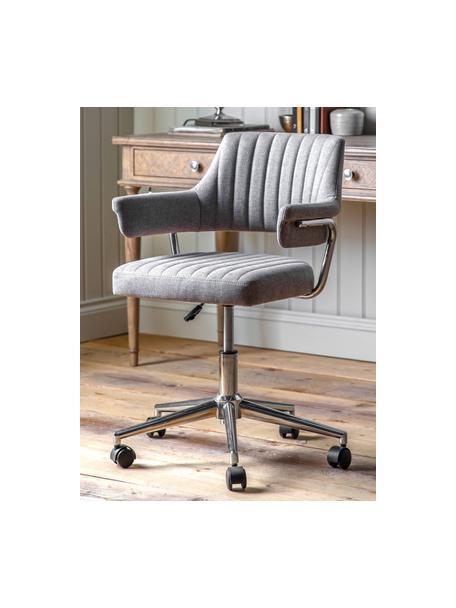 Büro-Drehstuhl McIntyre, höhenverstellbar, Bezug: Polyester, Beine: Metall, galvanisiert, Rollen: Kunststoff (Nylon), Grau, B 58 x T 54 cm