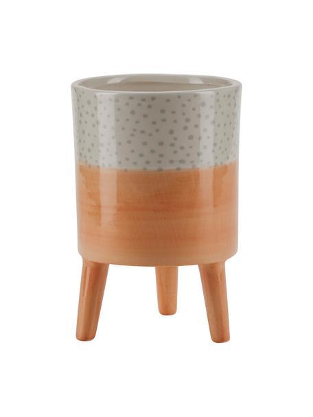 Kleiner Übertopf Leia aus Keramik, Keramik, Orange, Beige, Grau, Ø 10 x H 15 cm