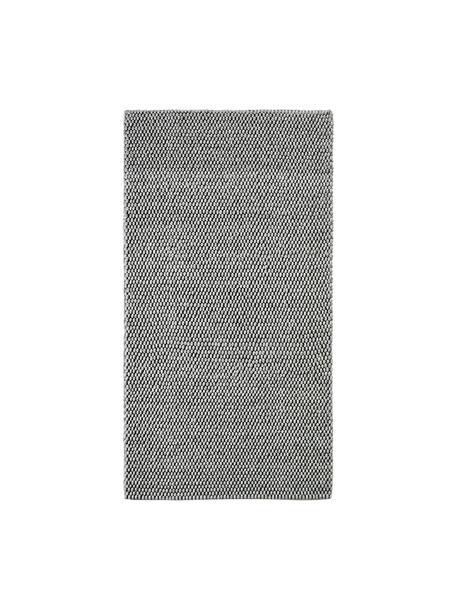 Handgestikte wollen vloerkleed My Loft in lichtgrijs gevlekt, Bovenzijde: 60% wol, 40% viscose, Onderzijde: katoen, Zilvergrijs, B 80 x L 150 cm (maat XS)