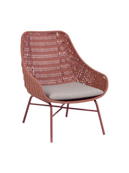 Tuin loungefauteuil Abeli, Zitvlak: touw, geverfd, Frame: verzinkt metaal en gelakt, Bekleding: stof, Roze, 68 x 67 cm