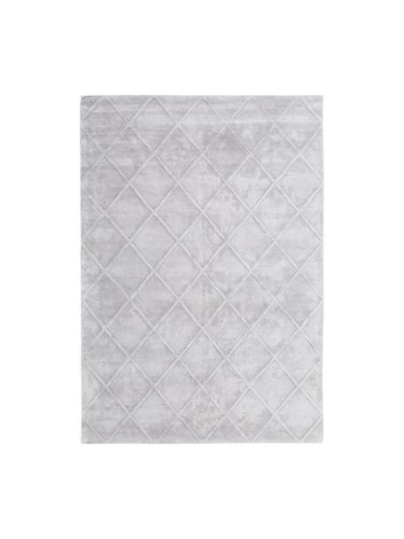 Handgetufteter Viskoseteppich Shiny in Silbergrau mit Rautenmuster, Flor: 100% Viskose, Helles Silbergrau, B 160 x L 230 cm (Größe M)