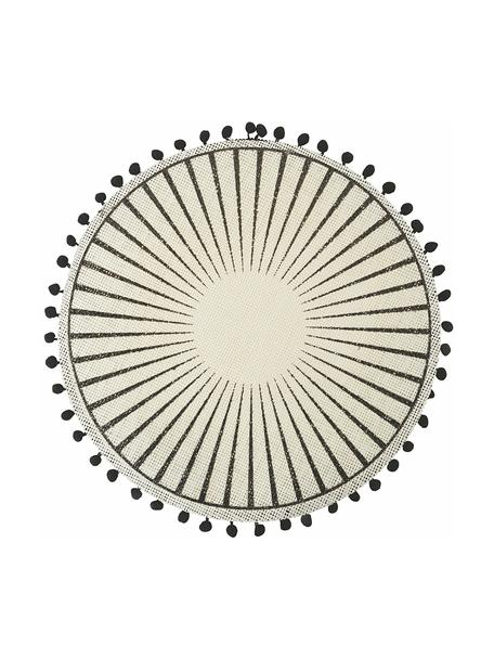 Placemats Blackpon met pompoms, 6 stuks, Jutekleurig, Wit, zwart, Ø 38 cm